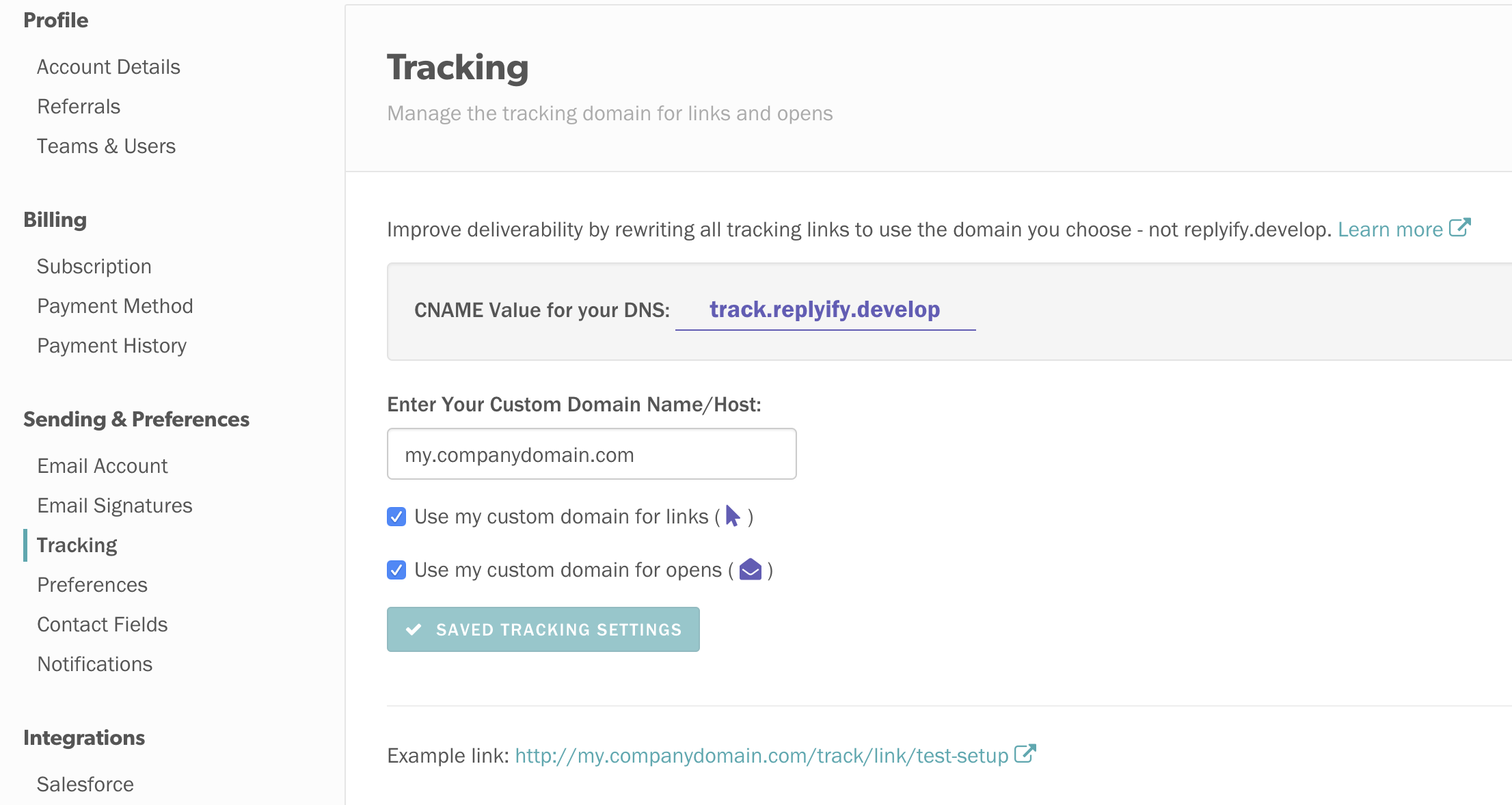 Cold EMail Link Tracking Customize
